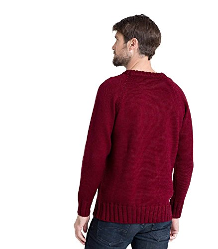 Wool Overs Pull homme en pure laine à col rond Burgundy