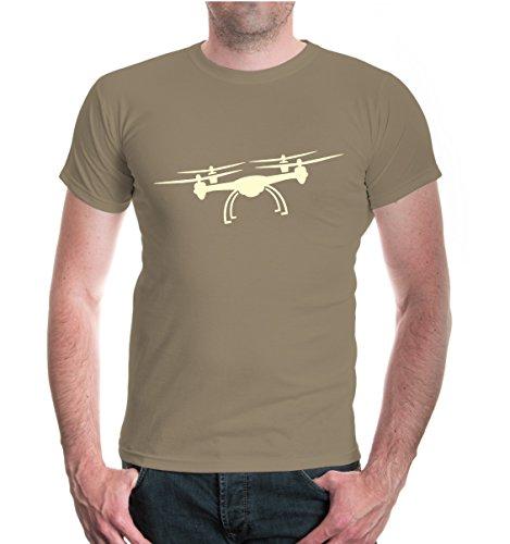 buXsbaum® T-Shirt Flugdrohne-Silhouette Khaki-Beige