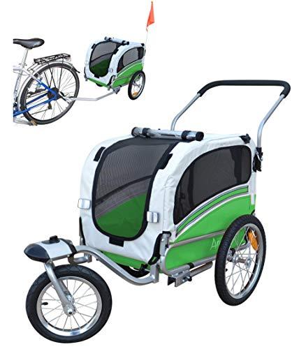 POLIRONESHOP ARGO rimorchio e passeggino per trasporto cani cane animali carrello carrellino trasportino rimorchi da bici bicicletta jogger carrozzina dog portacani portacane porta (VERDE, SMALL)