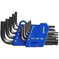 S&R Juego de llaves Allen hexagonales, Set 13 Llaves HX 1,27 a 10 mm para Autos y Bicicletas, clip de plástico ligero y pratico