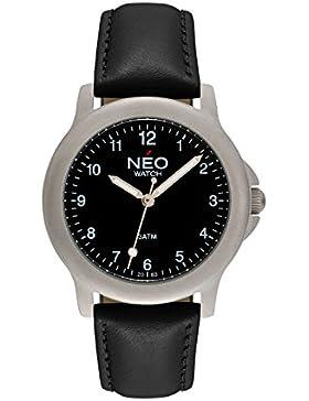 NEO watch PURE BLACK Damenuhr Armbanduhr Edelstahlgehäuse Lederarmband Schwarz Analog Quarz N5-002