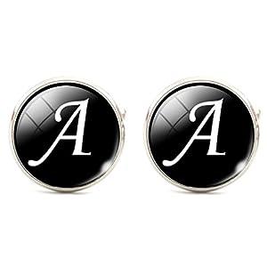 Jiayiqi Männer Alphabet Manschettenknöpfe Single Anfangsbuchstaben Geschäft Manschettenknöpfe A-Z MEHRWEG