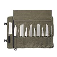 QEES Chefs Knife Roll Bag 11 Slots, Heavy Duty Waxed Canvas Knife Bag, Waterproof Knife Case for Camping, Hiking, Multi-function Tool Roll Bag (Army green)
