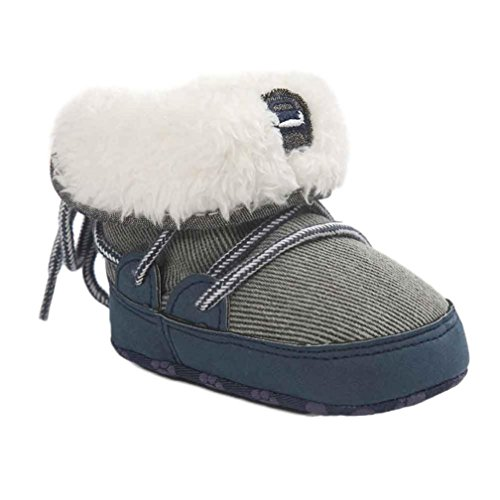 Kingko® bambino molli soli stivali da neve scarpe culla morbidi stivali bambino (6~12 mesi, Blu)