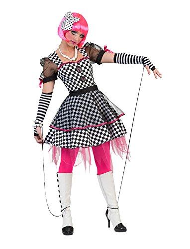 Kostüm Kleid Harlekin Größe 36/38 / Damen Schwarz Weiß Kariert Clown Clownskostüm Tüll Transparente Ärmel Karneval Fasching (Kleid Marionette Kostüm)