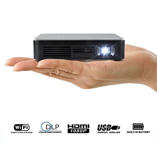 "Mobile Pico Beamer WIFI DLP Portable Mini Pocket Multimedia Video LED Gaming Projektoren Mit 120 ""Anzeige 120-Minuten-Batterielebensdauer 20.000-Stunden-LED (Inkl. HDMI Kabel und Stativ)"