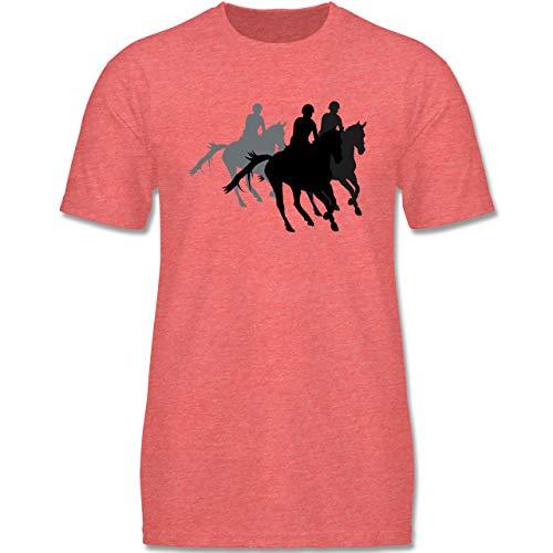 Sport Kind - Freizeitreiten Ausreiten Reiten - 134-146 (9-11 Jahre) - Rot meliert - F140K - Jungen T-Shirt