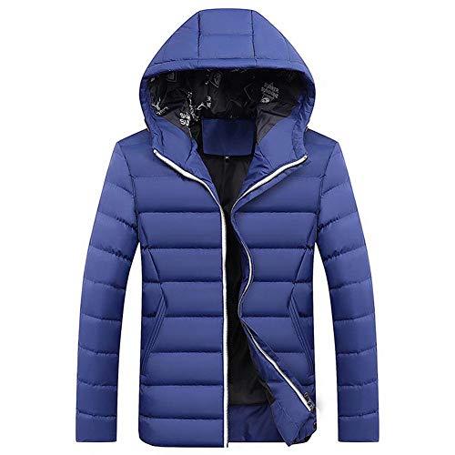 Xmiral Herren Jacke Mantel Winter Reißverschluss verdickt Reine Farbe Kapuze Outwear (XXL,Blau1)