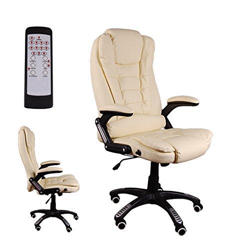 Giosedio bsb massaggiante poltrona elegante per ufficio, sedile in pelle confortevole, sedia reclinabile, reclinabile, sedia scrivania, poltrona ufficio similpelle, altezza regolabile, girevole (beige)