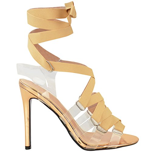 Escarpins à talons aiguille - lacés/brides en plexiglas - femme - tailles 36-41 Or rose métallisé/chrome/ruban rose