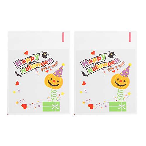 Amosfun Halloween Cellophan Taschen Clear Cello Cookie Taschen Für Party Candy Favors 100 stücke (Ghost Head)