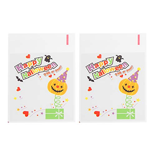 Amosfun Halloween Cellophan Taschen Clear Cello Cookie Taschen Für Party Candy Favors 100 stücke (Ghost Head) (Halloween Cookies Ghost)