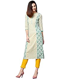 Jaipur Kurti Women Off White & Yellow Ethnic Motifs Straight Cotton Kurta With Pant