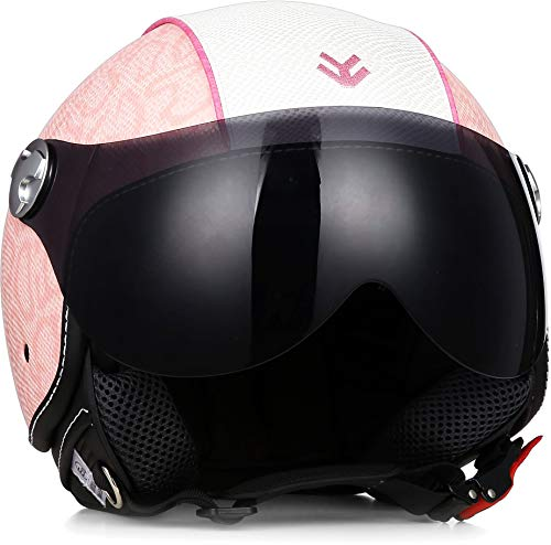 ARMOR · AV-84 Pure ?Pinky? (Pink) · Jet-Helm · Chopper Mofa Scooter-Helm Bobber Roller Motorrad-Helm · ECE certified · Visier · Exclusive Leather-Design · Click-n-Secure? Clip · L (59-60cm)
