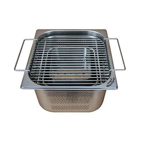Rogge´s RelaxGrill ® - Einbaugrill aus Edelstahl für Gartentisch und Außenküche - gemeinsam Essen am Holzkohlegrill, wie beim Raclette oder Fondue mit Freunden oder der Familie