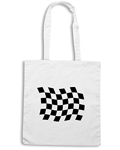 T-Shirtshock - Borsa Shopping FUN0983 checkered flag mens vneck tshirt Bianco