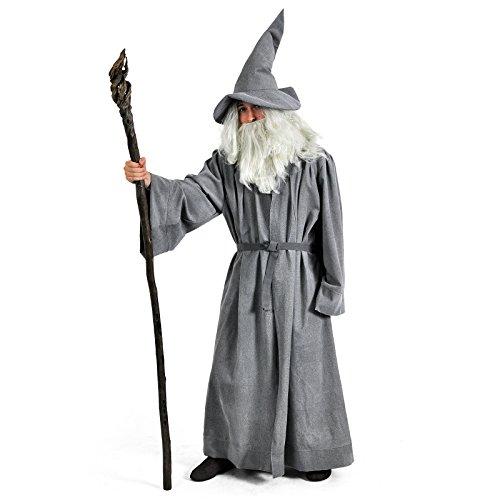 Gandalf Kostümset 5-teiliges Elbenwald Zauberer (Perücke Erwachsene Gandalf Und Bart Set)