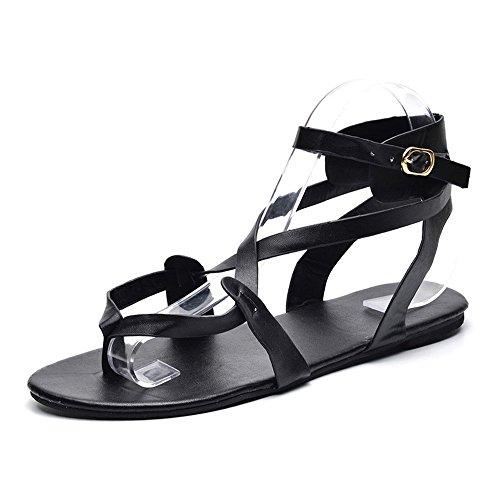 Preisvergleich Produktbild Frauen Sandalen für Frauen liusdhdamen schuheSummer Women Ladies Sandals Cross Strap Flat Ankle Roman Casual Shoes(BK, 39)