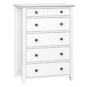 VASAGLE Kommode mit 5 Schubladen, Schubladenkommode, Rahmen aus Massivholz, Aufbewahrung fürs Badezimmer, Schlafzimmer, Kinderzimmer, weiß RCD01WT