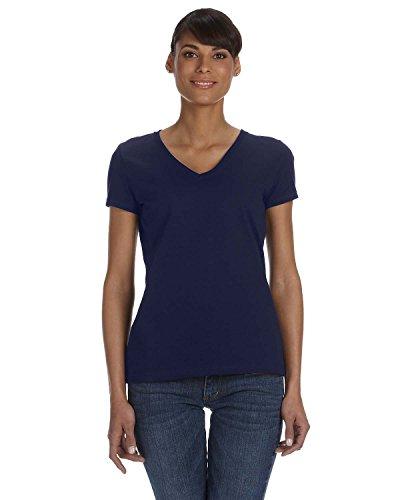 Fruit Of The Loom Damen-l39 Vr, 100% Baumwolle, V-Ausschnitt, T-Shirt, HD Blau - J Navy