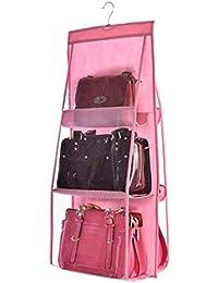 Sellus 6 Pocket Large Clear Purse Handbag Hanging Storage Bag Organizer Closet Tidy Closet Organizer Wardrobe Rack Hangers Holder for Fashion Handbag Purse Pouch