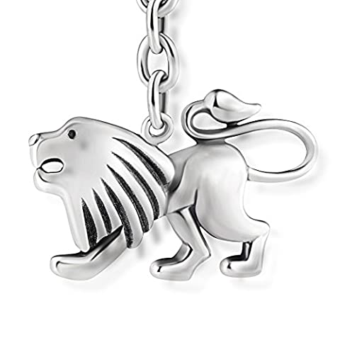 STERLL Keychain astrological sign Leo for men, made of solid oxidized 925 sterling-silver, the perfect gift for husband or boyfriend, including jewelry pouch