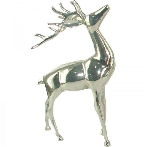 Hirsch Figur stehend Aluminium 30x15x5cm poliert silber Hirschgeweih Trophäe (Hirsch-figur)