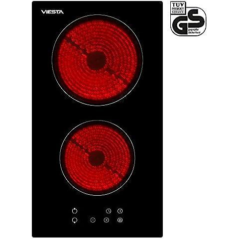 Viesta C2Z - Placa vitrocéramica, 2 zonas de cocción, 3000 W potencia total, color negro