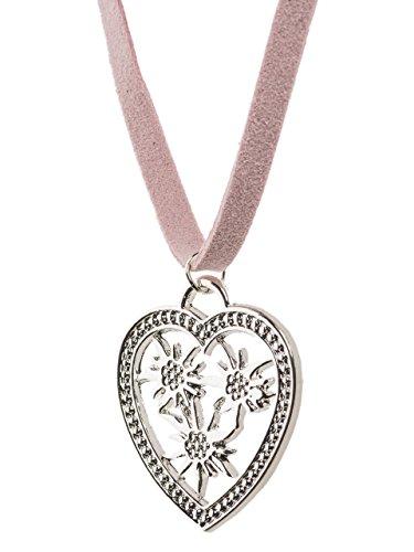 Trachtenkette Edelherz - eleganter Herz und Edelweiss Anhänger - weiches Lederband - Trachtenschmuck (Rot/Rosa)