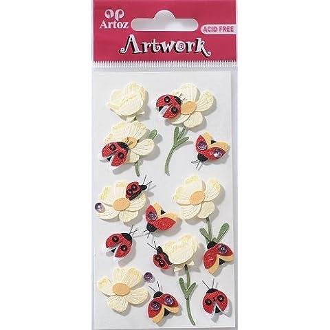 Artwork-Elementi decorativi, motivo: coccinella con fiori