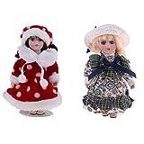 Homyl Bambola di Porcellana Bella Bambola Bambole da Collezione 2pcs Giocattolo Desktop
