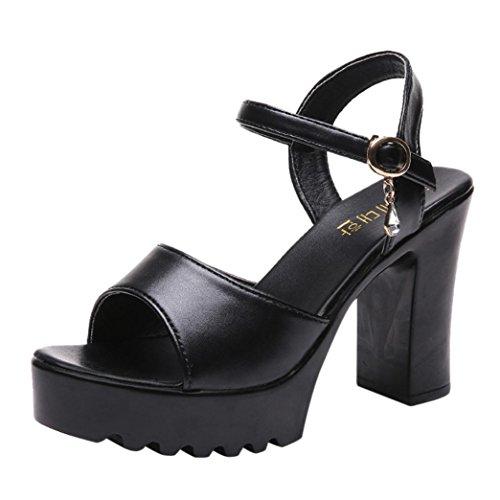 Liuchehd sandali donna con zeppa sandal eleganti ciabatte donna estive da casa open toe peep platform tacco gladiatore sandali scarpe grosso (nero, 40)