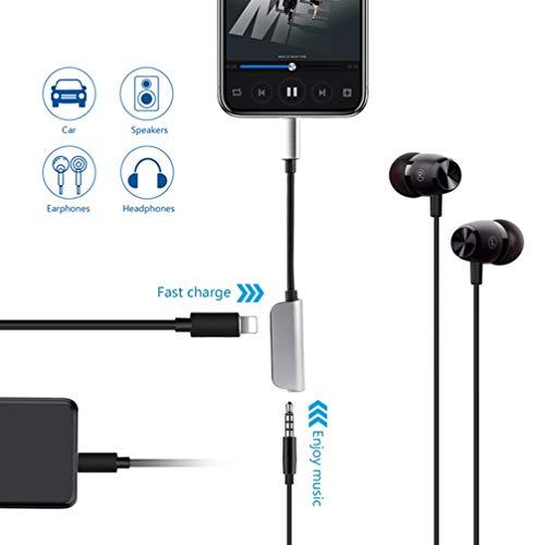 Kopfhöreranschluss für iPhone XR-Adapter Kopfhörer Audio-Splitter und Ladeanschluss für iPhone X / XS max / 7/7 Plus / 8 / 8Plus Unterstützung für Musikhören und Ladehilfe iOS 11.4 System -Sliver - 2