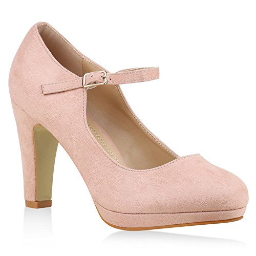 Damen Pumps T-Strap Blockabsatz High Heels Damen Mary Janes Samt Velours Spangenpumps Lack Leder-Optik Schuhe 135525 Rosa 38 Flandell