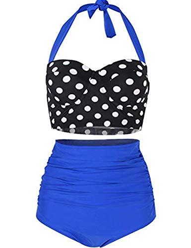 FeelinGirl Bikini Tankini 50er Damen Retro Vintage Bikini Sets High Waist Bademode Badeanzug Neckholder Swimsuit, M(EU 34), Blau