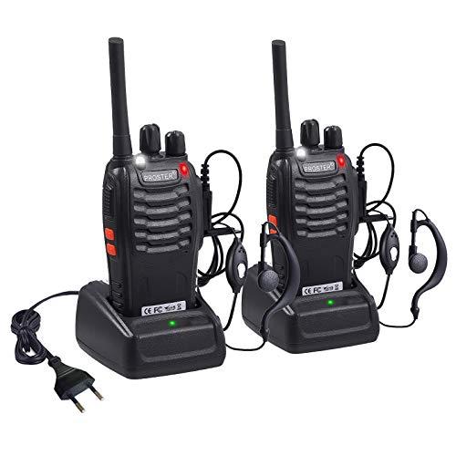 Proster Walkie Talkie Recargables 16 Canales Walky Talky Profesionales PMR446 CTCSS DCS Función VOX BF-888S Emisoras Radios Gran Alcance con Pinganillos Cargador Enchufe 5V/1A
