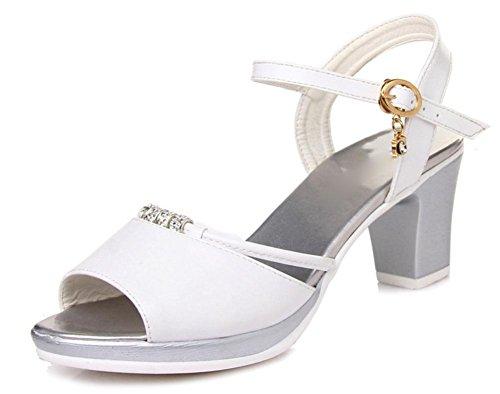 Sommer Sandalen weibliche hochhackige Sandalen rau mit offenen Sandalen Strass White