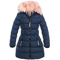 SS7 Girls Padded Parka Coat Faux Fur Fleece Lined Jacket Age 3 4 7 8 9 10 11 12 13 Navy