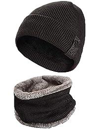 f2d4245037331 LAOWWO Sombrero de Punto Cálido Sombrero Clásico de Invierno con Gorro y  Bufanda de Círculo Sombrero