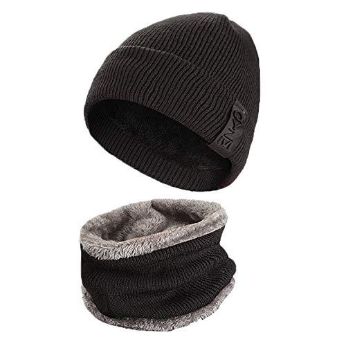 LAOWWO Bonnet en Tricot avec Écharpe Chaud Chapeau Classique d hiver Bonnet  de Ski Extérieur 83b453bda8de