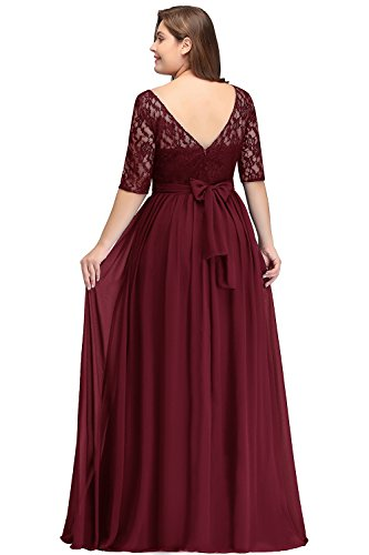Misshow Damen Übergröße Abendkleid Spitze Chiffon mit Ärmel Elegant Lang Ballkleid , Weinrot, 56 (Rot Kleid Plus Und Schwarz Größe)