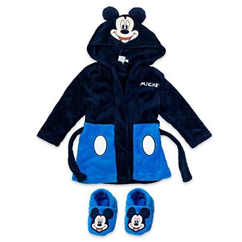 Disney Baby Set Bademantel + Schuhe Jungen schwarz rot | Motiv: Mickey Mouse | Geschenkset für Neugeborene & Kleinkinder | Größe: schwarz-blau 6-9 Monate (74)