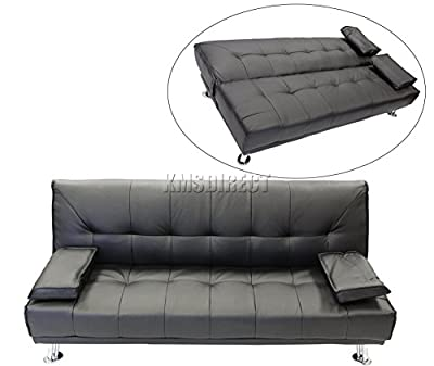 Faux Leather Chunky Sofa Bed recliner 3 Seater Modern Luxury Design Furniture Black produced by KMS - quick delivery from UK.