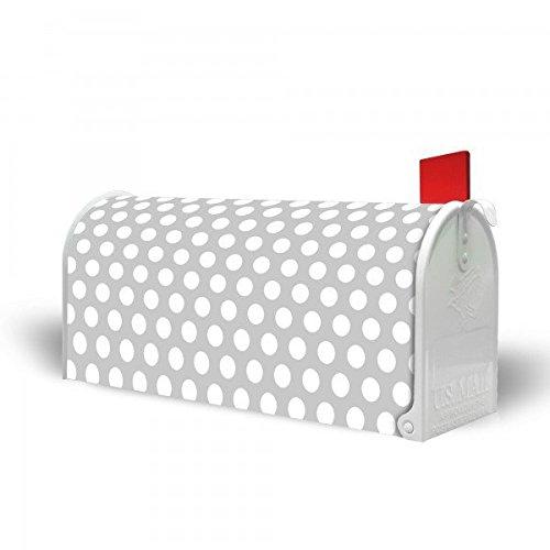 banjado – US Mailbox 17x22x51cm amerikanischer Briefkasten mit silber lackiertem Ständer und Motiv Punkte Grau - 4