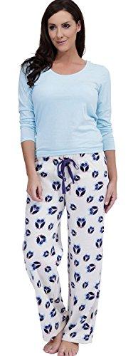 Damen Socks Uwear Eulen Aufdruck Winter Langer Schlafanzug pajama Nachtwäsche LN637 Aqua