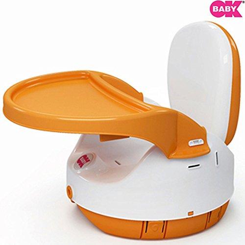 Ok Baby alzasedia artu seggiolino da tavolo per bambini alzabimbo rialzo per sedia con vassoio removibile (Arancio) P31