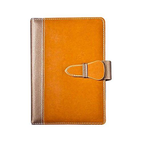 Klassische Business-Notebook Soft Cover Tagebuch Travel Diary A5mit sicheren Verschluss + Stiftschlaufe Gelb-Braun (Lay Flat Notebook)