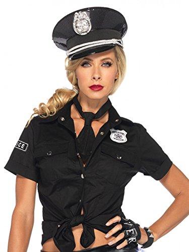 Heisse Polizistin Kostüm Set Bluse und Krawatte schwarz silber (Kostüm Heiße Polizistin)