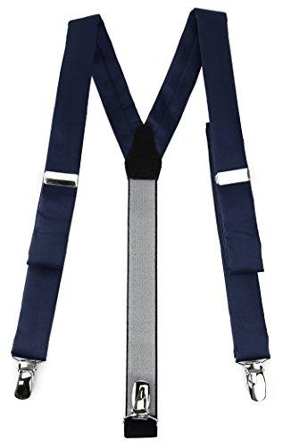 isex Hosenträger in Y-Form mit 3 extra starken Clips - Farbe in marine einfarbig Uni - hochwertige Verarbeitung ()
