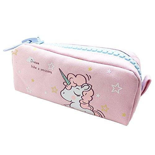 Shager 1pcs Chicas Chicos Niños Estuches, Diseño de Unicornio Animal Bolsa de Lienzo Lápiz Cosmética en Tejido con Cremallera Caja Case Pochette Escolar Gran capacidad 21.5 * 10.5CM (Rosa)